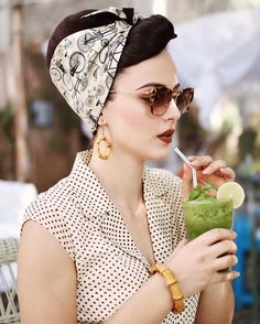 The perfect vintage inspired bandanas by @rockrockabilly ❤️ Bamboo earrings by @glitterparadise  Sunglasses @miumiu  Dress old collection by @lindy_bop #pin_up_style_outfits