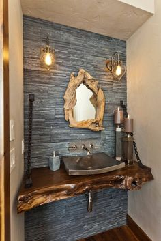 Modern Rustic Bathroom Vanity Ideas and Designs Check out the grace of this beautiful rustic vanity design that is proudly made a part of this interesting post. This fabulous renovation will make the bathroom to appear well-decorated and s Rustic Bathroom Lighting, Rustic Bathroom Designs, Rustic Bathroom Vanities, Bathroom Plans, Bathroom Mirrors, Bathroom Ideas, Bathroom Cabinets, Bathroom Faucets, Bathroom Storage