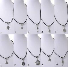 Collares cuero con colgantes plata tibetana, 10 modelos a elegir, 45 cm largo