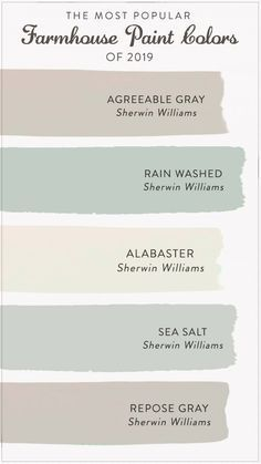 master bedroom paint colors Find the most popular farmhouse paint colors of From alabastar to agreeable gray, check out our list to help you decide the best color for y Farmhouse Paint Colors, Paint Colors For Home, Farmhouse Design, Farmhouse Interior, Basement Paint Colors, Living Room Paint Colors, Beach Paint Colors, Paint Colors For Bedrooms, Paint Colors For Office