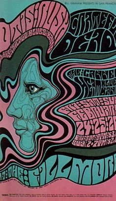 Wes Wilson, Fillmore Concert Poster, (1960's) Otis Rush, Grateful Dead, Canned Heat