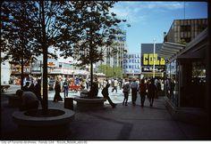 late at Yonge & Dundas, facing east [Kodachrome] [Ellis K. City Streets, Ontario, Vintage Photos, 1970s, Past, Toronto, Times Square, Street View, Canada