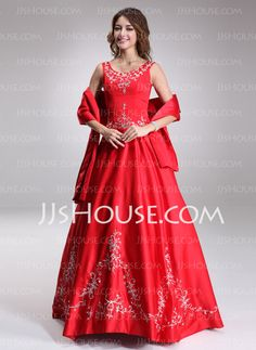 Quinceanera Dresses - $184.99 - Ball-Gown Scoop Neck Floor-Length Satin Quinceanera Dress With Embroidered Beading (021003160) http://jjshouse.com/Ball-Gown-Scoop-Neck-Floor-Length-Satin-Quinceanera-Dress-With-Embroidered-Beading-021003160-g3160