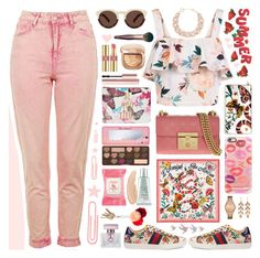 """""""Summer Garden🍓"""" by ealkhaldi ❤ liked on Polyvore featuring New Look, Topshop, Gucci, Mixit, Illesteva, Casetify, Too Faced Cosmetics, Yves Saint Laurent, Burt's Bees and DIANA BROUSSARD"""