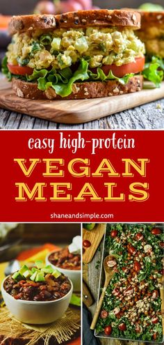 14 vegan meals that are high in protein and a great addition to your weekly meal plan! Easy, oil-free, and healthy plant-based recipes that include breakfast, lunch, and dinner!