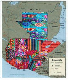 Guatemala with a collage of the different textile work as a department, as the land division is called. Guatemalan Art, Guatemalan Textiles, Guatemalan Recipes, Guatemala City, Tikal, My Roots, Thinking Day, Latin America, Central America