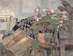 Jean Edouard Vuillard - Le pot de fleurs (Pot of Flowers), Edouard Vuillard, Galerie D'art Moderne, Felix Vallotton, Gallery Of Modern Art, Post Impressionism, Illustration, Painting Still Life, French Artists, Art Google