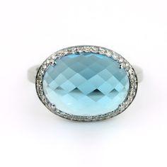 14K White Gold Blue Topaz & Diamond Ring - Fire & Ice
