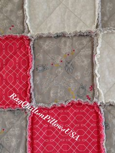 Beautiful Grey and Pink Rag Quilt Owl by RagQuiltsnPillowsUSA