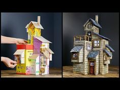 We all have some cardboard boxes laying around in some drawer or closet somewhere. Why not make something awesome with them? I made an old farmhouse recycling some boxes. I tried to use all kinds of boxes, big, small, thick and thin. Cardboard Box Crafts, Paper Crafts, Cardboard Box Houses, Cardboard Recycling, Cardboard Dollhouse, Dollhouse Miniatures, Fairy Crafts, Diy And Crafts, Foam Crafts