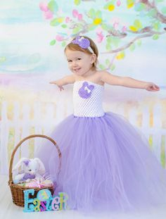 Lavender and White Easter Bunny Tutu Dress and Matching Headband