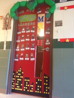 Incredible Hulk super hero theme door for back to school leader in me Superhero Classroom Door, Superhero Bulletin Boards, Classroom Themes, Classroom Organization, Future Classroom, Class Decoration, School Decorations, School Wide Themes, School Doors