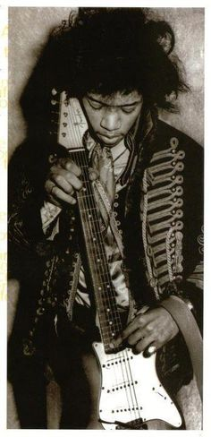 Jimi Hendrix with his Fender Strat.