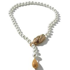 """R.J. Graziano """"Wild One"""" Snake-Design Simulated Pearl 24-1/2"""" Drop Necklace at HSN.com."""