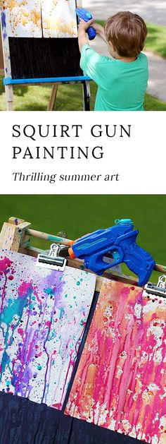 Bust summer boredom at home, school, or camp with Squirt Gun Painting, an amazing art experience for kids of all ages.  via @https://www.pinterest.com/fireflymudpie/