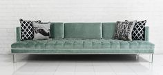 Down With Love Sofa in Tufted Aqua Velvet