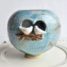 ceramic love birds luminary by Lee Wolfe Pottery