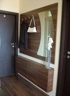 Visual result of elucuszobafal - Best Interior Design Ideas Home Entrance Decor, House Entrance, Entryway Decor, Home Decor, Hallway Furniture, Home Furniture, Dark Wood Shelves, Wood Shelf, Dressing Table Design