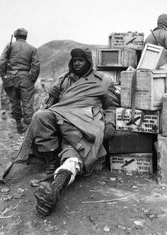 Fighting for Freedom--At Home and Abroad: A wounded soldier in the Korean War. From For Love of Liberty: The Story of America's Black Patriots. The Blackman is always at war, fighting for others, fighting for himself, fighting for his family. The look on his face says it all!
