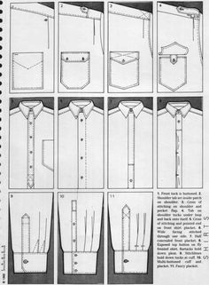 Shirt parts Sketches Flat Drawings, Flat Sketches, Clothing Patterns, Sewing Patterns, Textile Manipulation, Shirt Sketch, Fashion Dictionary, Fashion Vocabulary, Technical Drawing