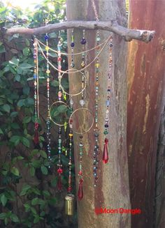 Moon Dangle by DogandDragonfly on Etsy Wire Crafts, Bead Crafts, Diy And Crafts, Sun Crafts, Deco Marine, Diy Wind Chimes, Beaded Curtains, Beads And Wire, Wire Art