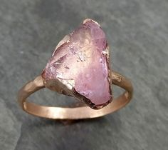 Raw Rough and partially Faceted Pink Topaz 14k rose Gold Ring One Of a Kind Gemstone Ring Recycled gold byAngeline 0509