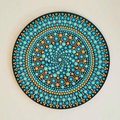 Turquoise Mandala Art Dot Art Painted Wood Hand-Painted