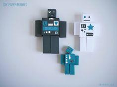 Free cube template for DIY paper robot by La maison de Loulou *