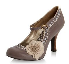 Ruby Shoo Poppy Mink Mary Jane High Heel Flower Shoes