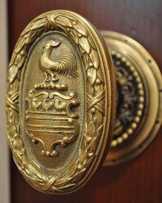 Vintage Rooster Brass Door Knob