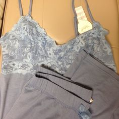 Lace blue pj set New with tags. I love these because they are so comfortable and pretty. They are very similar to the Victorias secret sets, but half the pricethey are light way, have some stretch and feel like the softest thing ever! Intimates & Sleepwear Pajamas