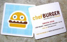 The square shape makes her seem informal and approachable. Also the hamburger with teeth and eyeballs.