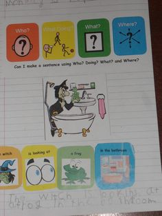 Children are now able to extend their sentences using Where? 'The witch is looking at the frog in the bathroom'. Talk 4 Writing, Pre Writing, Writing Ideas, Speech Language Therapy, Speech And Language, Speech Therapy, Speech Pathology, Colourful Semantics, English Phonics