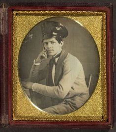 """Unidentified man wearing an """"unusual hat,"""" c. 1855. Historians (and armchair historians), any thoughts about the origins of this awesome patent-leather cap? (George Eastman House)  Submitted by Liz"""