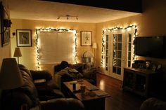 Living Room : Inspiration Interior With Excellent Brightening Garlands Also Living Room Furniture Sets As Decorate In Small Space And Lovely Christmas Living Room Decor Inspirations Besides Dazzling Christmas Living Room Decor Brown Wooden La Enjoying Christmas Festivities In Living Room Christmas Living Room. How To Decorate Your Living Room With Christmas Lights. Yellow Colour Of Fireplace.