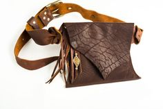 Brown Leather Belt Bag - Shi Pocket Belts - One of a Kind Leather Belt Bag, Brown Leather Belt, Leather Tassel, Bare Essentials, Tool Belt, Silk Brocade, Going Out, Belts, My Design