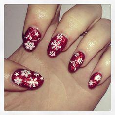Christmas Nails  #nails #acrylics #stiletto #red #glitter #christmas #snowflakes #stars #trees
