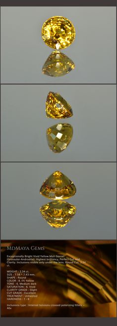 Exceptionally Bright Vivid Yellow Mali Garnet (Grossular-Andradite). Highest brilliancy, Perfect Cut and Clarity. Inclusions visible only under the lens. Round Cut. 2.34 ct.  Loose Gemstones for sale MdMaya Gems