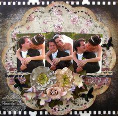 Untitled Wedding Layout {Swirlydoos Kit Club} - Scrapbook.com Kaisercraft - Art of Life Collection - 12 x 12 Die Cut Paper - Film Strip
