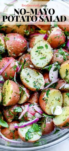 No-Mayo Potato Salad With Herbs salad potatosalad recipes potluck summer healthy no-mayo Easy to make and lighter to eat this healthy no-mayo potato salad with fresh herbs and an easy olive oil dressing is the perfect side dish for a crowd # Best Salad Recipes, Healthy Salad Recipes, Vegetarian Recipes, Cooking Recipes, Healthy Potluck, Salad Recipes For Dinner, Healthy Dishes, Salad Recipes No Lettuce, Summer Healthy Meals