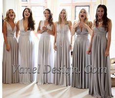 Grey Silver Bridesmaid Dress One Dress Endless by VanelDesign