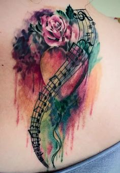 Watercolor heart Flower And Music Notes Tattoo