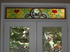 Our custom stained glass transom window.