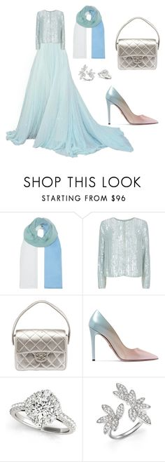 """Silver/blue"" by umosya ❤ liked on Polyvore featuring Armani Collezioni, Chanel, Prada and Bloomingdale's"