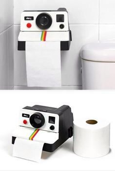 10 Seriously Awesome Pieces of Geeky Furniture - Oddee T POLAROLL, a unique toilet paper holder, looks just like those old cameras, and dispenses TP just as quickly. Objet Wtf, Unique Toilet Paper Holder, Geek Decor, Deco Originale, Old Cameras, My Room, Decoration, Cool Things To Buy, Geek Stuff