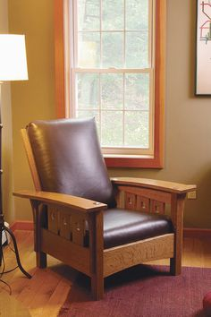 Bow-arm Morris chair from Fine Word Working plans - variation of adding cut-out on slats