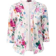 Blazer in Floral Print (1.155 RUB) ❤ liked on Polyvore featuring outerwear, jackets, blazers, blazer, floral blazer jacket, flower print jacket, blazer jacket, floral print blazer and floral blazer