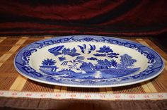 "Vintage Asian Porcelain Blue Willow Serving Platter Plate Tray Japan  12 3/4""x9"" #JAPAN"