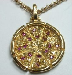 Large Pizza Pie Pendant/Charm- Sterling Silver Gold Plated with Synthetic rubies - All Metals Available- All Stones Available