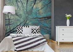 Effective wall and room design with photo wallpaper cool design ideas bedroom with gray walls, wall paper trees and sky, metal floor lamp, black and wh Gray Bedroom Walls, Grey Walls, White Room Decor, Diy Room Decor, Home Decor, White Wood Dresser, Diy Crafts For Bedroom, Blue Tapestry, White Apartment
